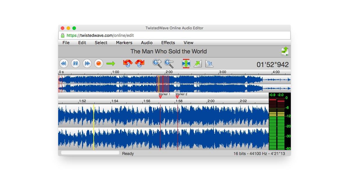 онлайн-редактор аудио с витой волной