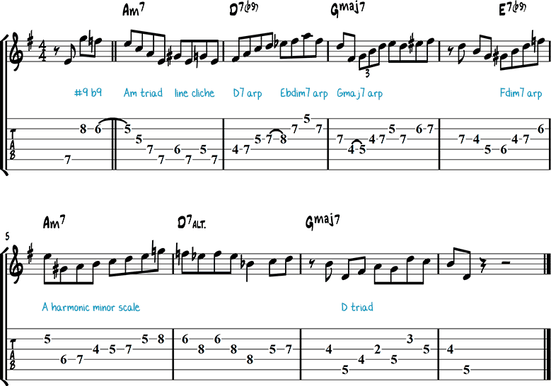 Фраза для джазовой гитары соль мажор 1