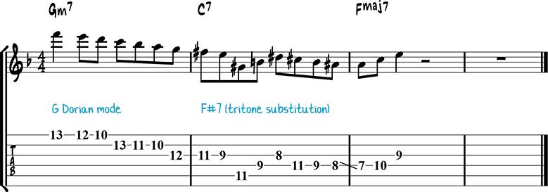 Джазовая фраза для гитары 23