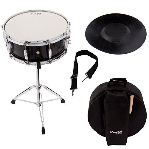 Набор малых барабанов Mendini Student с чехлом, палками, стойкой и комплектом тренировочного пэда, черный, MSN-1455P-BK